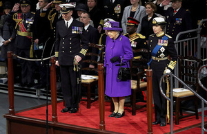 Queen welcomes Royal Navy's largest ever ship into the fleet
