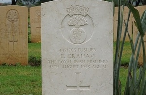 WW2 fusilier's grave rededicated 74 years after his death