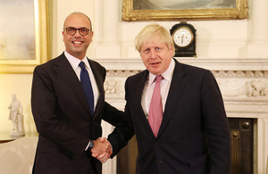 Foreign Secretary meets the new Italian Foreign Minister Alfano in London
