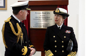 Her Royal Highness The Princess Royal names new jetty for Navy's giant aircraft carriers
