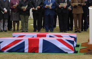 Rededication and burial services for first world war soldiers