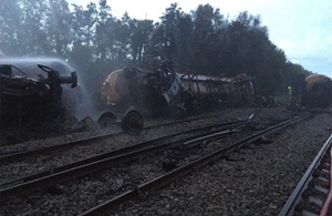 Derailment and fire involving a tanker train at Llangennech   updated 21/09/2020