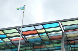 Flags of the Historic Ridings of Yorkshire fly above DCLG's new home