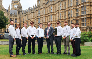 Brathay apprentice challenge winners in Westminster visit