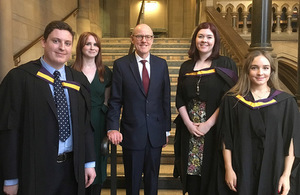Minister meets top teaching graduates at University of Manchester