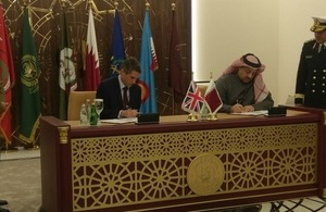 Defence Secretary in Doha as multi billion pound jet contract with Qatar is signed