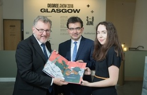 Scottish Secretary visits Glasgow School of Art to view Degree Show 2018 and Mackintosh restorations