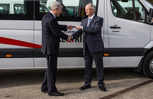 Transport Minister hands keys to owners of government funded new minibuses during visit to Derbyshire supplier