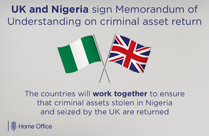 Immigration Minister signs agreement with Nigeria on returning stolen criminal assets